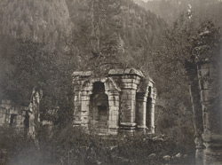 Kashmir. First group of temples near the village of Wangut in the Scind Valley. View of the principal temple looking west. Probable date A.D. 1 (?)